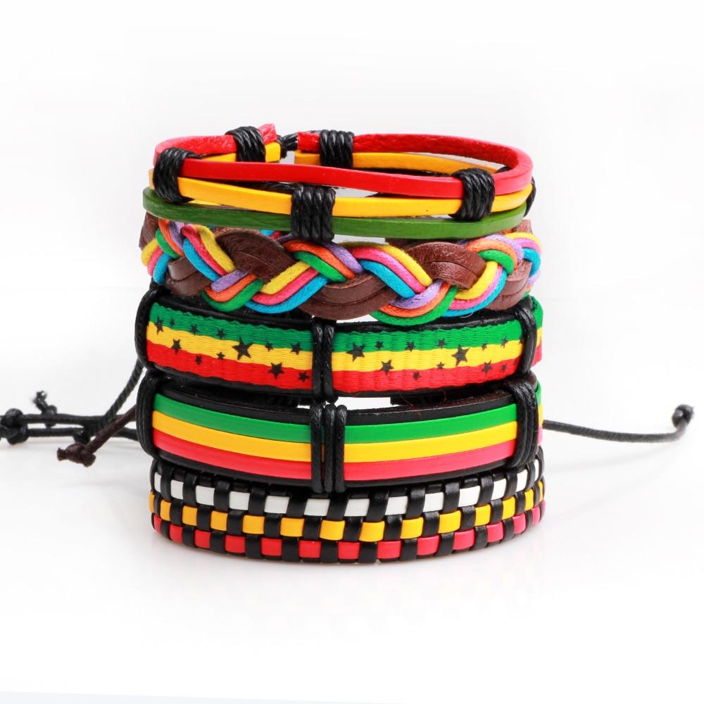 Er 5pcs Hiphop Male Leather Jamaica Bracelet Rasta Reggae Bracelets Women Rock Style Hand Jewelry Pulceras Femininas Lb032 In Cuff From