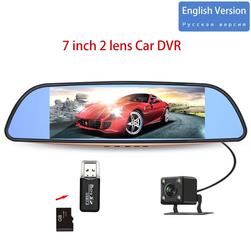 DVR Car-Recorder Rear-Camera Video G-Sensor Registrar With HD 7''