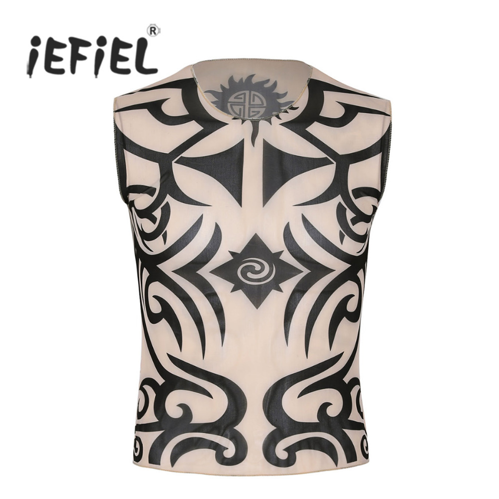 Mens Fake Tattoo Print Summer   Tank     Tops   Elastic Slim Fit Sleeveless See Through Vest   Tops   for Mens Halloween Party Clothing