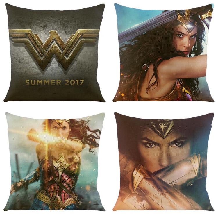 Clever Wonder Woman Logo Gedruckt Bolster Comic Sofa Kissen Kissen 45*45 Cm Hohe Qualität Ramie Baumwolle Fabri Stärken Superhero Cosplay