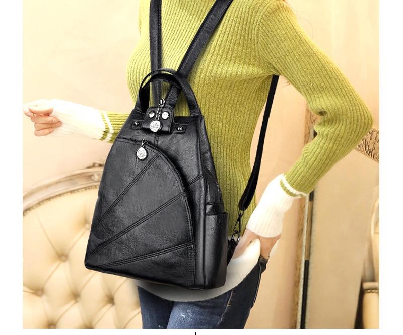 HTB1mXe2hfBNTKJjSszeq6Au2VXan 2019 Women Anti-theft Leather Backpacks Female Ladies Backpacks For School Retro Sac a Dos Femme Female School Shoulder Bags