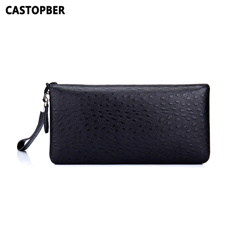 Men's Wallet Genuine Leather England Style Clutch Bag Long Zipper Purse Men Wrist Bags Ostrich Pattern Cow Leather High Quality new oil wax leather men s wallet long retro business cowhide wallet zipper hand bag 2016 high quality purse clutch bag