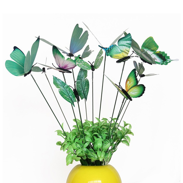 12x Beautiful Butterfly Stakes Garden Potted Plant Flower Pot Decor Green