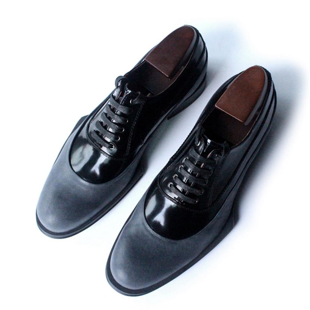 Geometry dark grey gentleman high-grade handmade men shoes chaussures hommes en cuir mens leather shoes falmec quasar vetro parete 90 dark grey