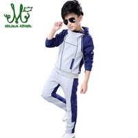 Children's Clothing Sets Kids Boy Zipper Hooded Clothes Set Boys Sport Suits Big Boy Tops + Pants 2Pcs Sets 4 10 12 14 6 Years