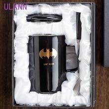 ULKNN Мстители, Лига Справедливости Новинка Творческий с кружка с крышкой Ложка Superman Spiderman Batman кружка высокое качество Керамика чашки
