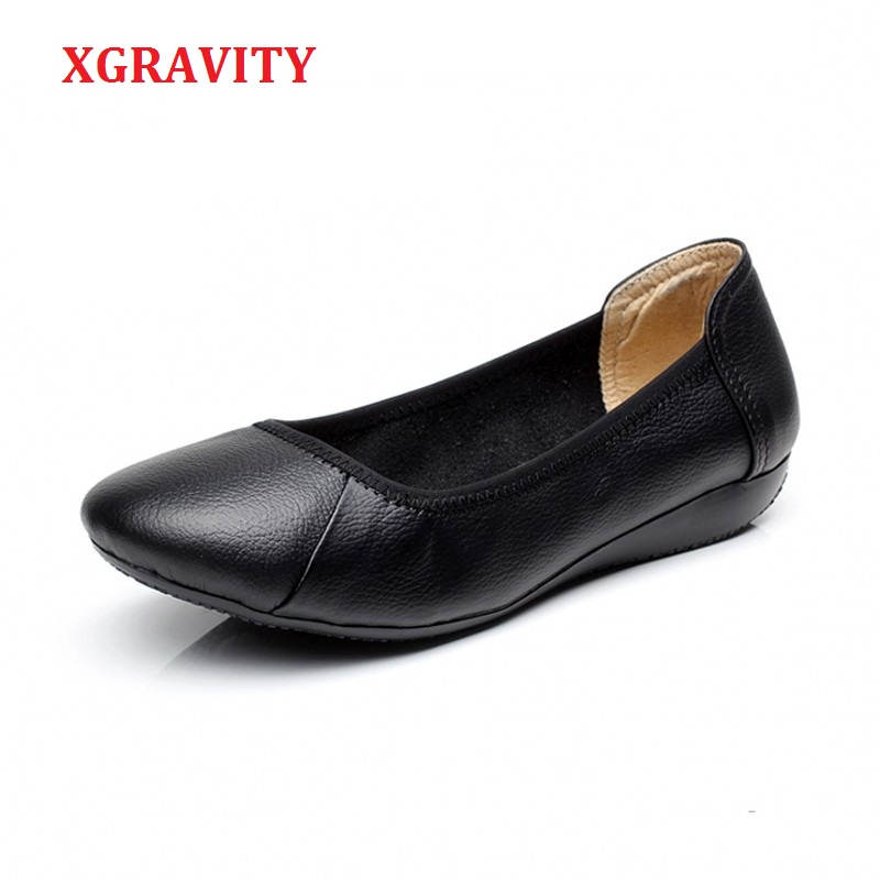 XGRAVITY Lady Comfortable Working Shoes Fashion Casual Black Women Flats Elegant OL Round Toe Soft Woman Shoes Plus Size A019 2016 mother shoes genuine leather loafers woman solid color soft comfortable ballet flats flexible round toe ol lady work shoes