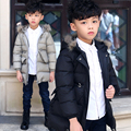 5-14T Boy Down Coat Winter New 2016 Brand Fashion Hooded Fur Collar Zipper Single Breasted Solid Tops Warm Cotton Outerwear