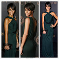 Red Carpet Dress Sexy Dark Green Rihanna Dress Halter V Back Pleated Straight Celebrity Dress Chiffon Prom/Evening Gown 2017