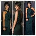 Tapete Red Dress Sexy Vestido Halter V Voltar Plissado Em Linha Reta Celebridade Rihanna Verde Escuro Vestido de Chiffon do baile de Finalistas/Vestido de Noite 2017