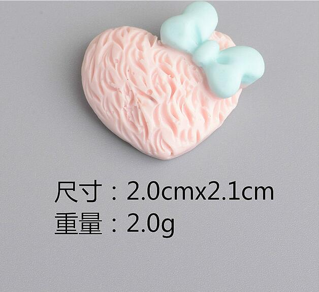 wholesale price Mixed Color Flat Back Clay Cabochon Kawaii heart bow DIY Flatback Decoration:2.0cm*2.1cm