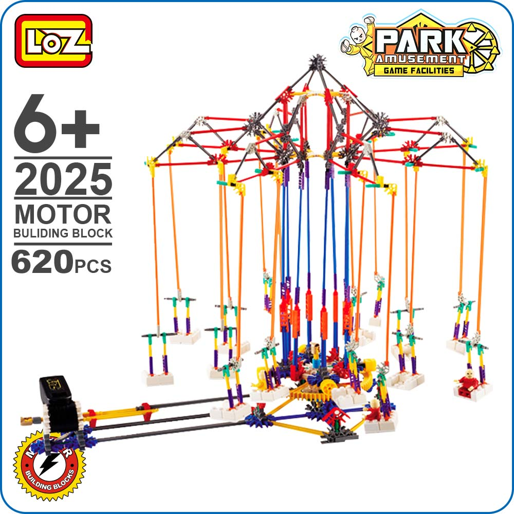 LOZ Toys Bricks Motor Building Block Whirlwind Chairs Model Educational Blocks Building Amusement Park Toy For Boys Kid DIY 2025 loz 160pcs m 9338 super mario brothers building block educational boy girl gift for spatial thinking