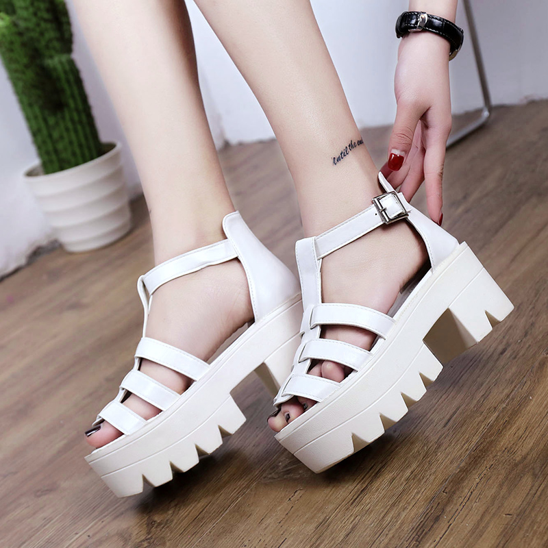 27def494c14 IMKKG 2017 New Fashion Korean Style Women Platform Shoes Gladiator Woman  Sandals Summer Hollow Out Weave Women Sandal S231-in Women s Sandals from  Shoes on ...