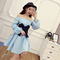 [Alphalmoda] 2017 Spring Women's Sweet Bow Dress Slash Neck Lantern Sleeve Female Vintage Princess Dress White Blue