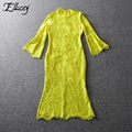 New 2017 Crochet Lace Dresses Women High-end Yellow Trumpet Mermaid Long Dress Hollow Out Flare Sleeve Dance Party Dress
