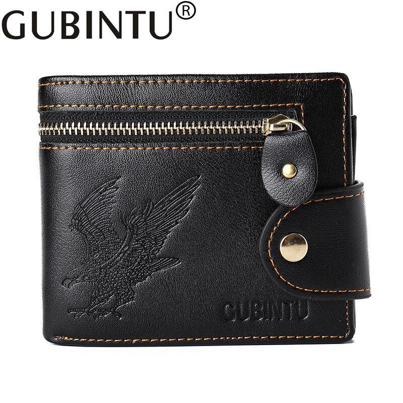 New Quality Hasp Zipper Black Color Men Wallets Eagle Printsl PU Leather Coin Pocket Bit Credit Card Holder Wallet
