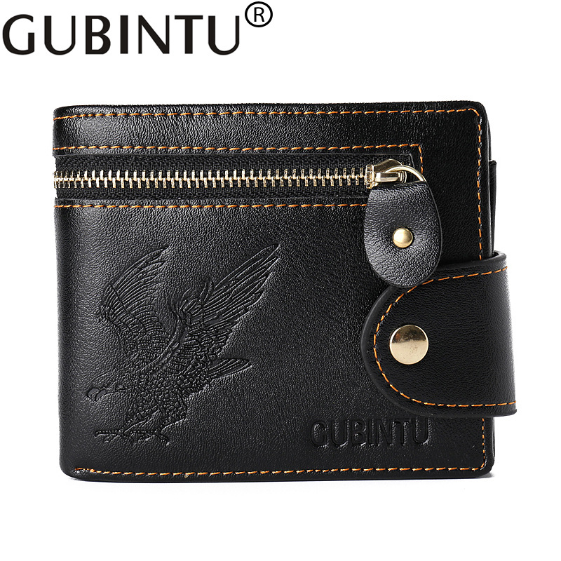 New Quality Hasp Zipper Black Color Men Wallets Eagle Printsl PU Leather Coin Pocket Bit Credit Card Holder Wallet ...