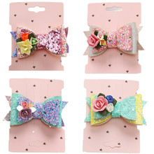 Fashion Headwear Big Bowknot Glitter Barrettes Hair Clips for Girls Hair Accessories Twinkle Paillette Hairgrip Sequins Hairpin free shipping 2017 womens fashion cute girls sequins backpack paillette leisure school bookbags fluorescent paillette sequins b