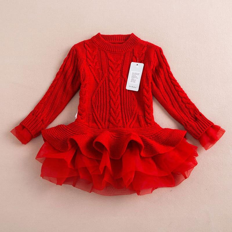 Neue Jahr der Rot Warme Pullover Kleid Für Mädchen Gestrickte Pullover Tops Outfits Kinder Baby Mädchen Kleidung der Mit Nette TUTU Spitze