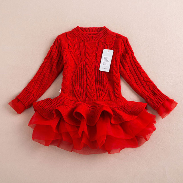 New Year's Red Warm Sweater Dress For Girls Knitted Pullovers Tops Outfits Kids Baby Girl's Clothing With Cute TUTU Lace
