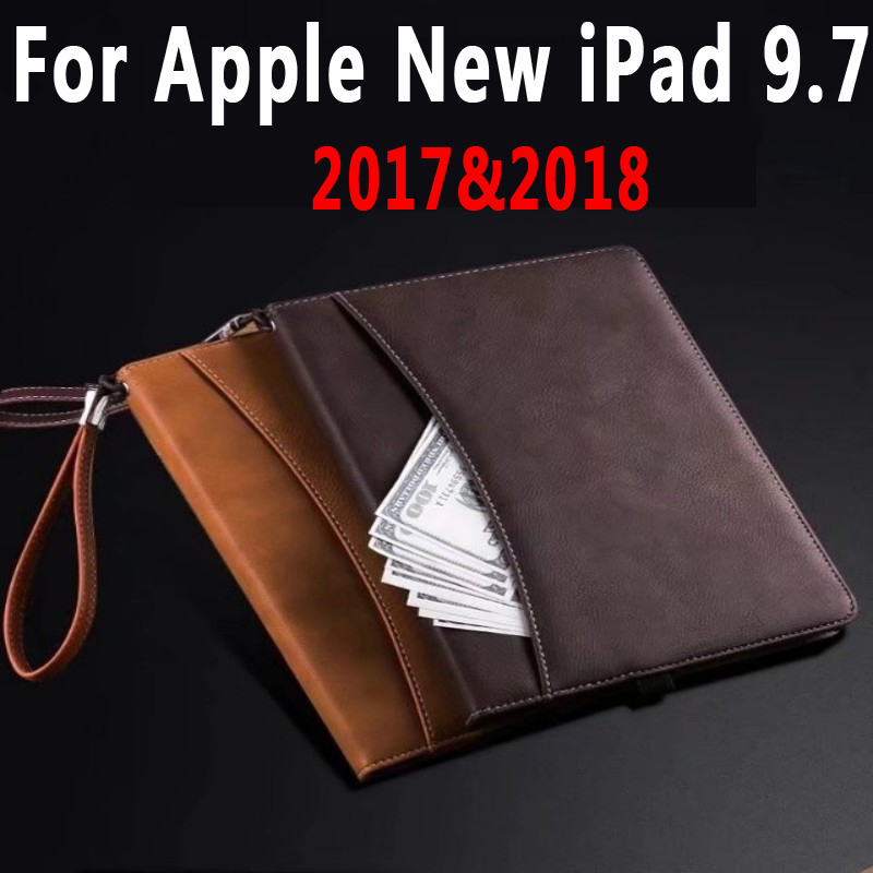 Business Leather Case Handhold Protective Shell Smart Cover with Card Slot for Apple New iPad 9.7 2017 2018 Coque Capa Funda
