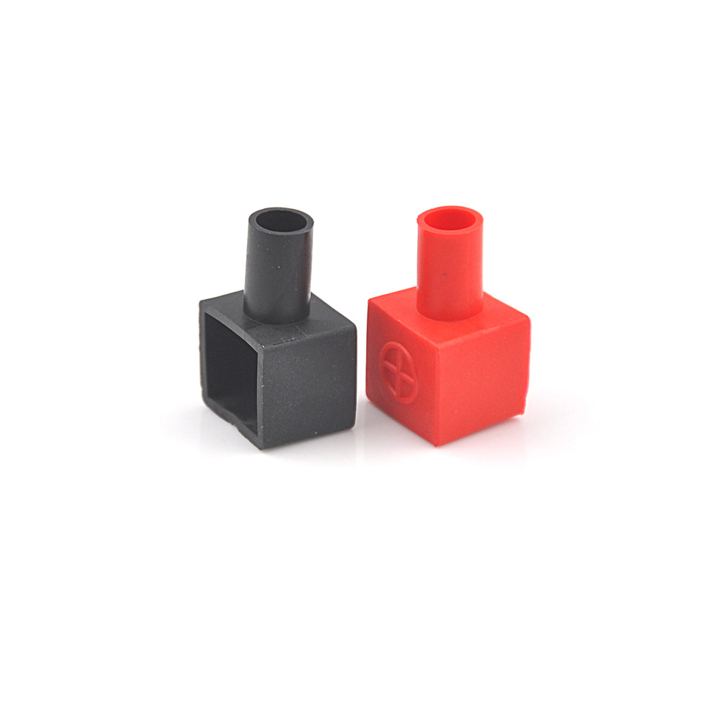 2pcs/set Universal  Square Motorcycle Battery Terminals Rubber Covers 13 X 14mm Red And Black