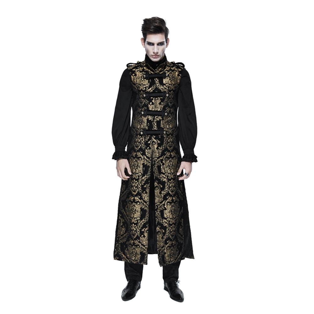 Steampunk Uomini Lungo Gilet Gotico Vittoriano Gilet Senza Maniche Giacche Partito Stampato Formale Gilet Outwear