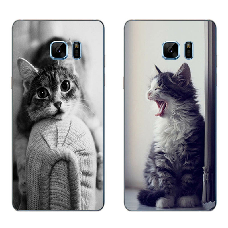 For Samsung Galaxy Grand Prime Phone Case A3 A5 A7, 2016 A8 A9 Shell Note 4 5 7 Transparent Cover Silicon Lazy Cat Pattern