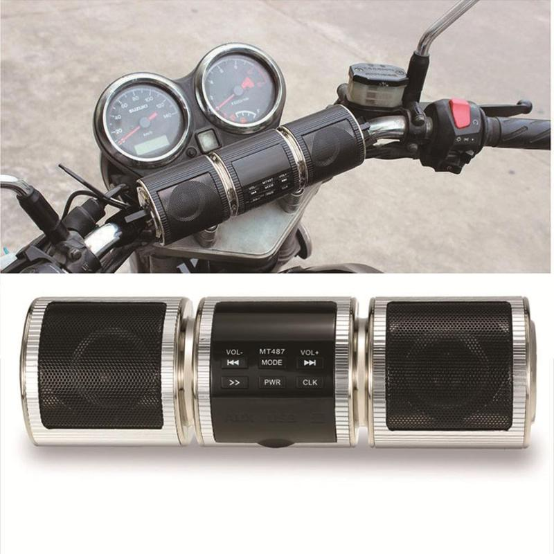 Handlebar Motorcycle MP3 Player Speaker Bluetooth Music FM Radio Waterproof Adjustable Bracket Motorbike Audio Stereo ATV UTV 4W