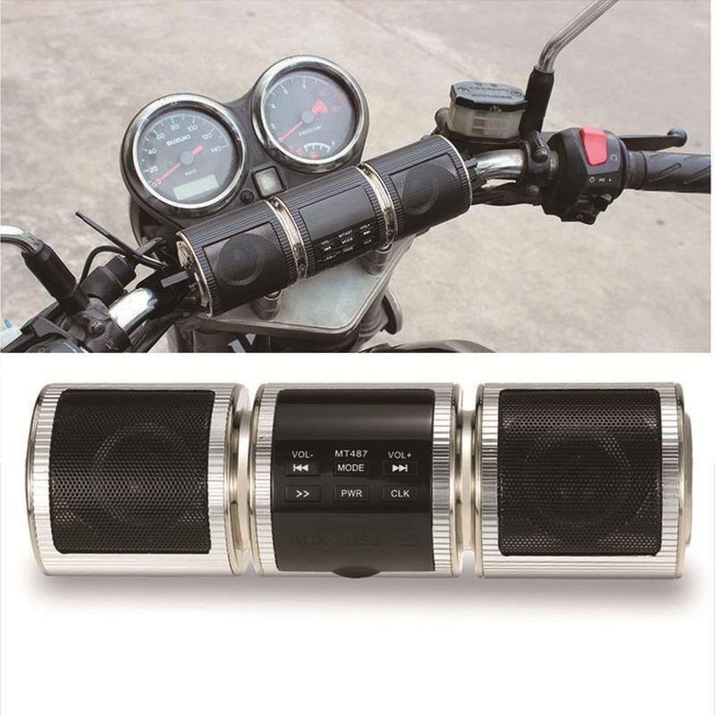 Handlebar Motorcycle MP3 Player Speaker Bluetooth Music FM Radio Waterproof Adjustable Bracket Motorbike Audio Stereo ATV UTV 4W