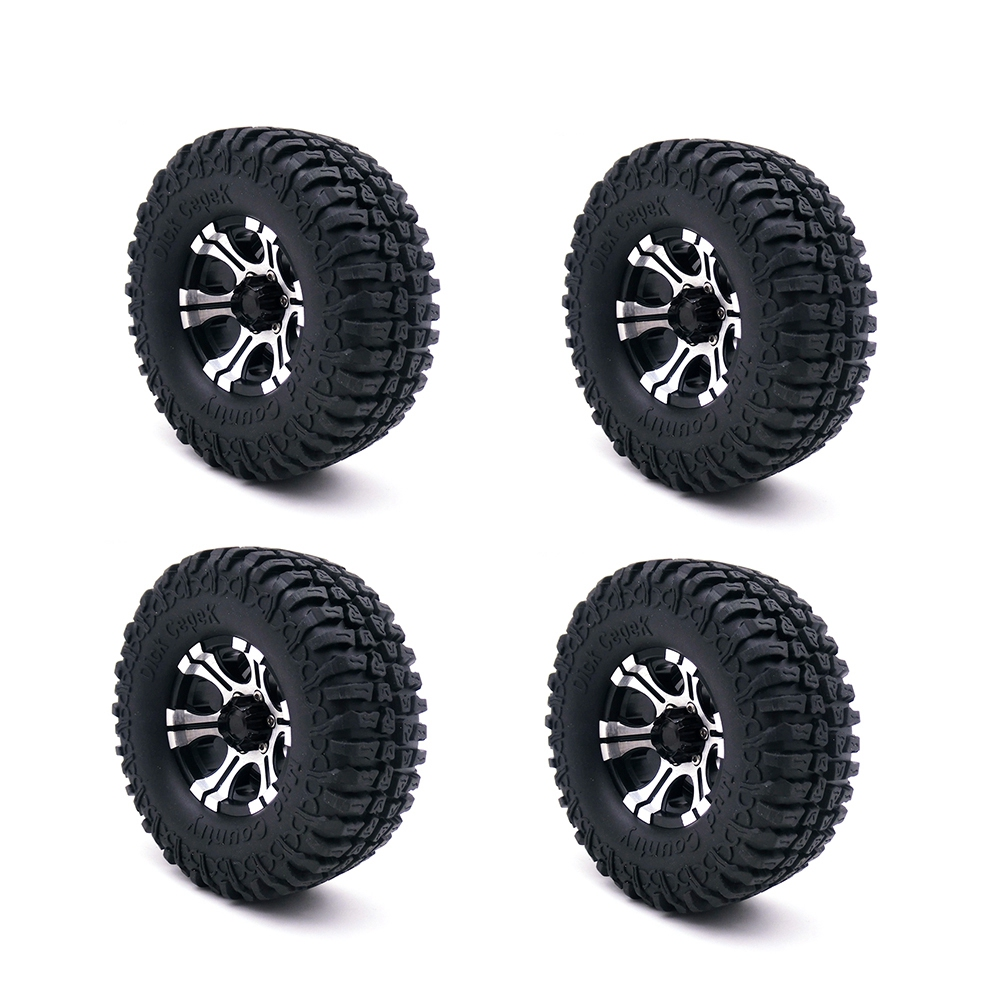 1.9 Inch Rubber Tires & Beadlock Wheel Rim Set for 1/10 RC Crawler Axial SCX10 Tamiya CC01 RC4WD D90 D110 TF2 RC Car Tyre Parts 4pcs rc crawler truck 1 9 inch rubber tires