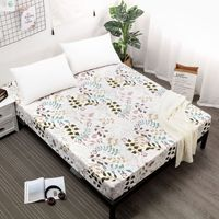 Cotton printed bed sheet mattress cover multi color bedding four corner elastic belt sheets waterproof compartment bed cover