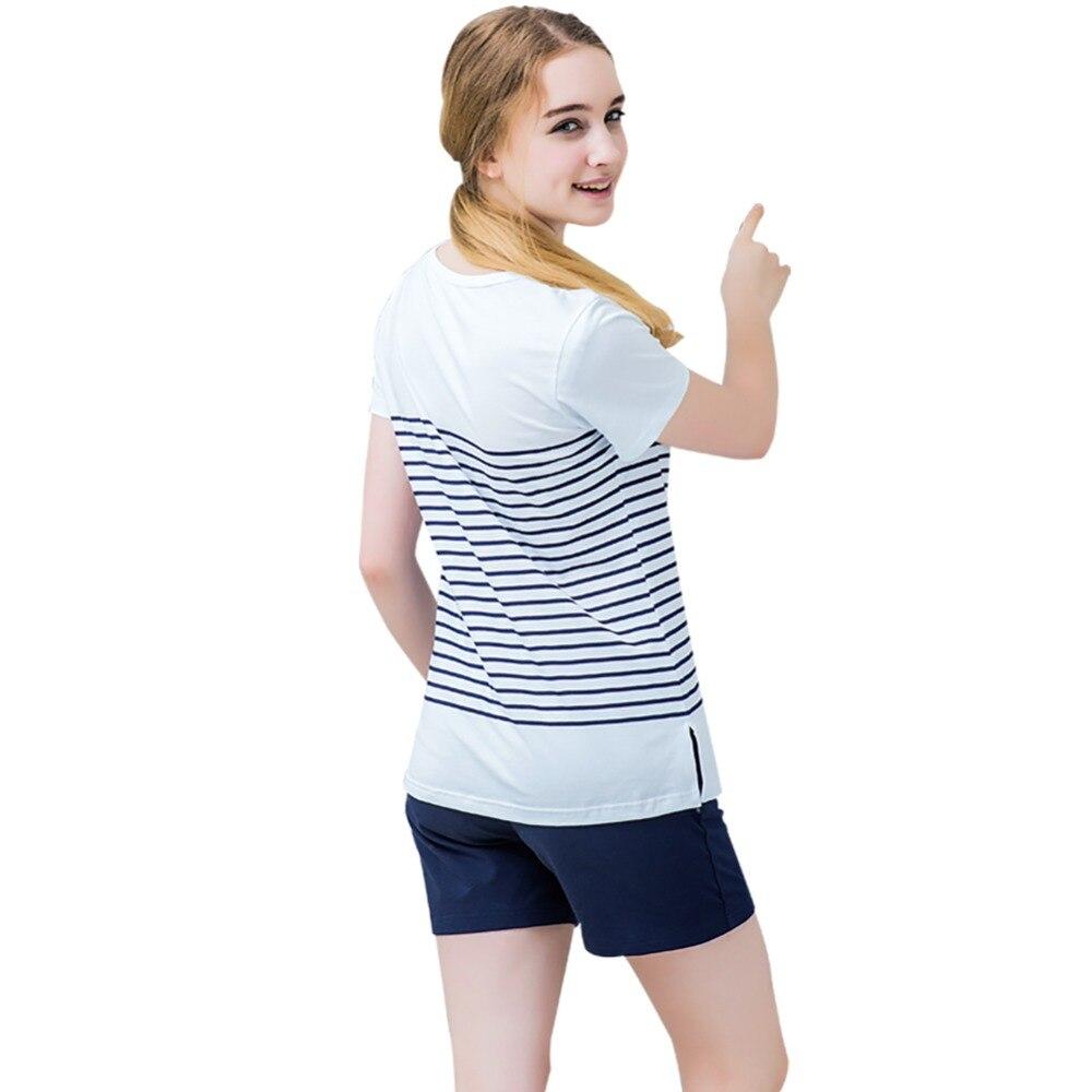 Image 2 - Женские пижамные комплекты, хлопковые шорты с круглым вырезом, полосатые летние пижамы для женщин, 2 штуки, мягкая и удобная домашняя одежда, пижамы-in Комплекты пижам from Нижнее белье и пижамы on AliExpress - 11.11_Double 11_Singles' Day