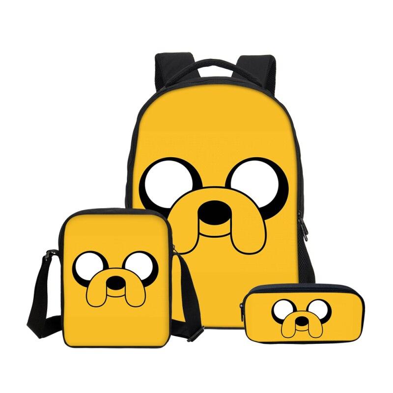 VEEVANV 3PCS/SET Portfolio Anime Cartoon Adventure Time Backpacks Pencil bag School Bag For Boys Girls Mochila bagpack bookbag veevanv hot cartoon anime roblox backpacks school bag for teenage boys children kids bagpack mochila men bookbag casual laptop