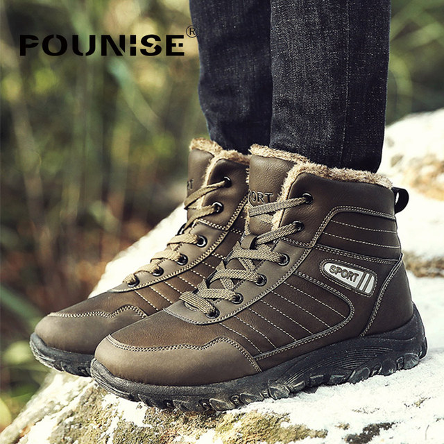Men's Winter Plush Warm Snow Boots Outdoor Anti-slip Thicker Plush Large Size Snow Sneakers