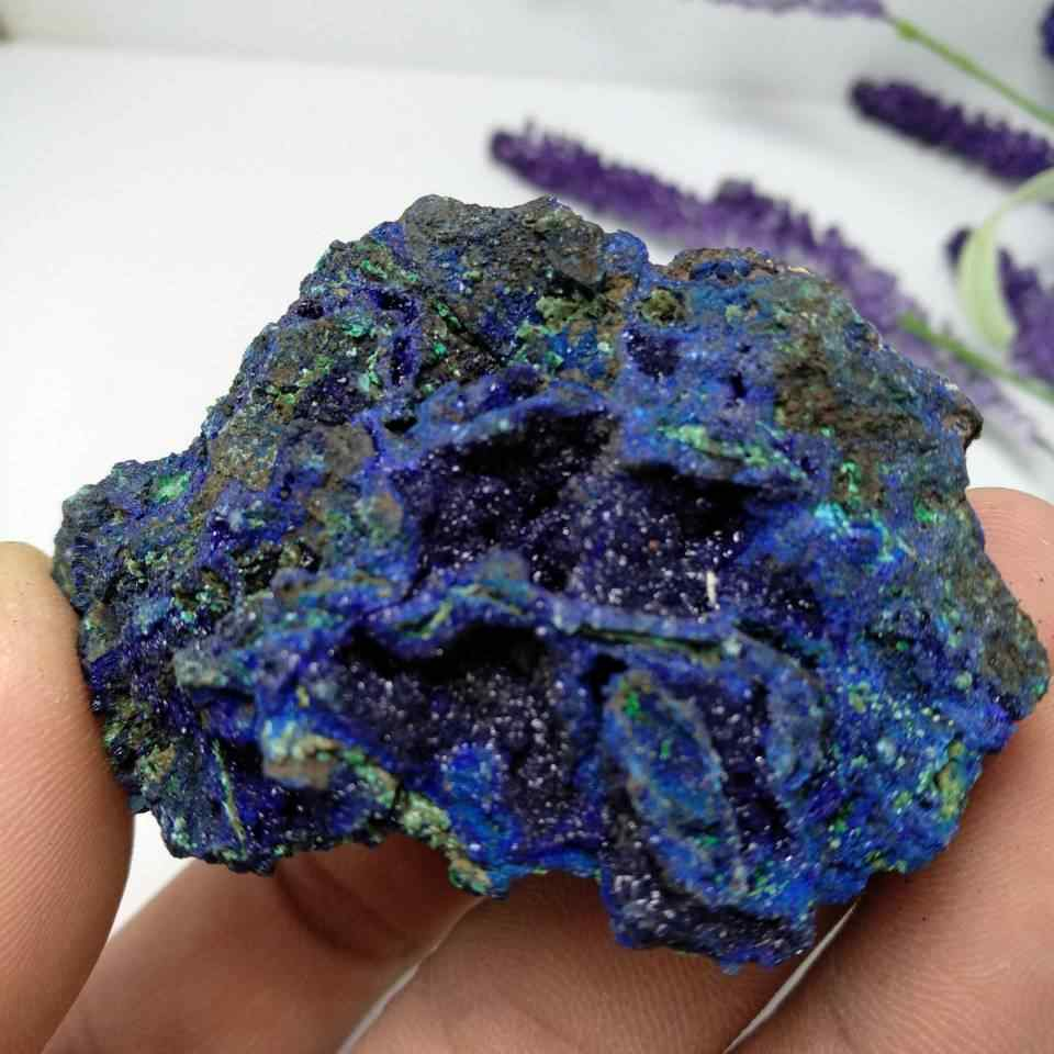 Natural azurite/malachite crystal ore mineral