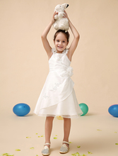 Luxurious satin ivory little Flower Girl Dress with applique kids formal dress Girls beautifull little girl