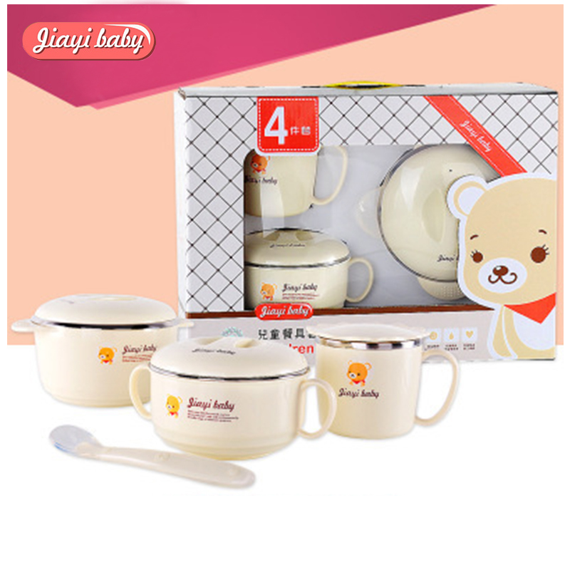 4pcs / sett Babyfôringssett med sucker Bowl Spoon Cup Dinnerware Set 304 Rustfritt stål Varmtvennlig Barn Anti-hot Servise