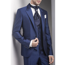 Navy Formal Wedding Groom Tuxedos Peaked Lapel 3 Piece Straight Business Men Suits Jacket Vest Pants