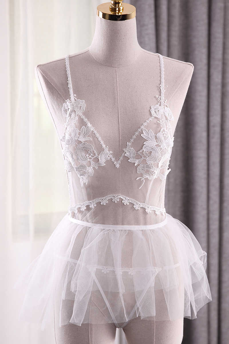 d94186d80b0b ... Extreme Temptation Sexy Lingerie Lace Embroidery Perspective Sleeping  Dress White Bride Wedding Nightwear Woman Nightgowns