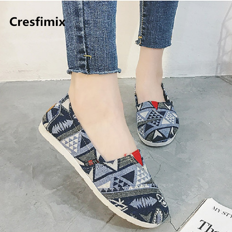Cresfimix Zapatos De Mujer Women Casual Spring & Summer Slip On Flat Shoes Lady Cute Comfortable Cloth Flats Dance Shoes A2013