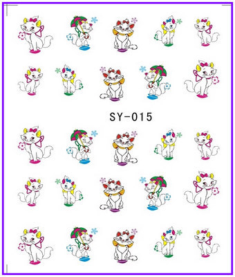 1X  Nail Sticker Cartoon Miss Cat  Water Transfers Stickers Nail Decals Stickers Water Decal Opp Sleeve Packing SY015