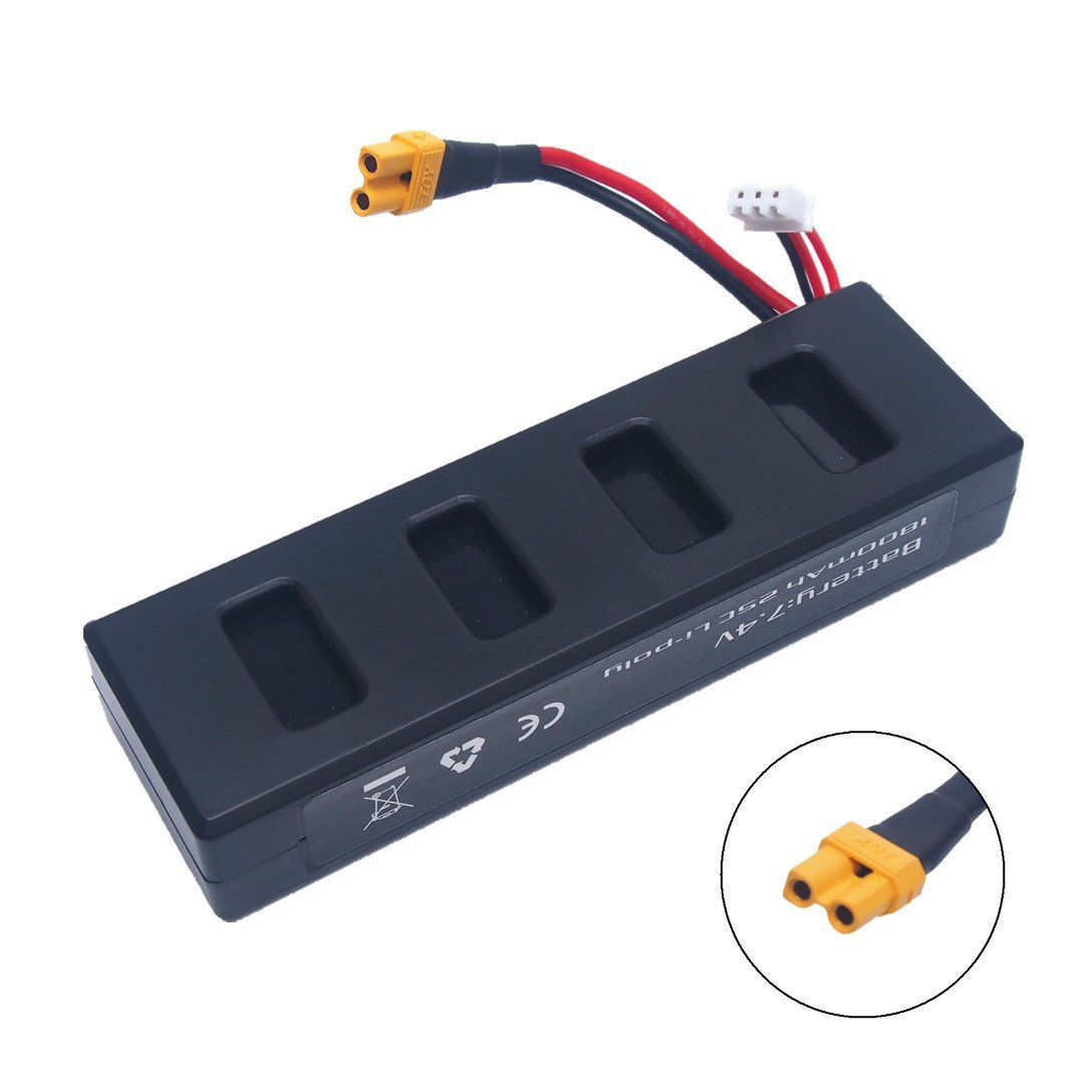 EBOYU(TM) 7.4v 1800mah 25C Li-poly Battery for MJX B3 Bugs 3 RC Drone Spare Parts 3pcs x battery 1 charging line for mjx b3 bugs b3 little monster brushless quadcopter 7 4v 1800mah 25c battery