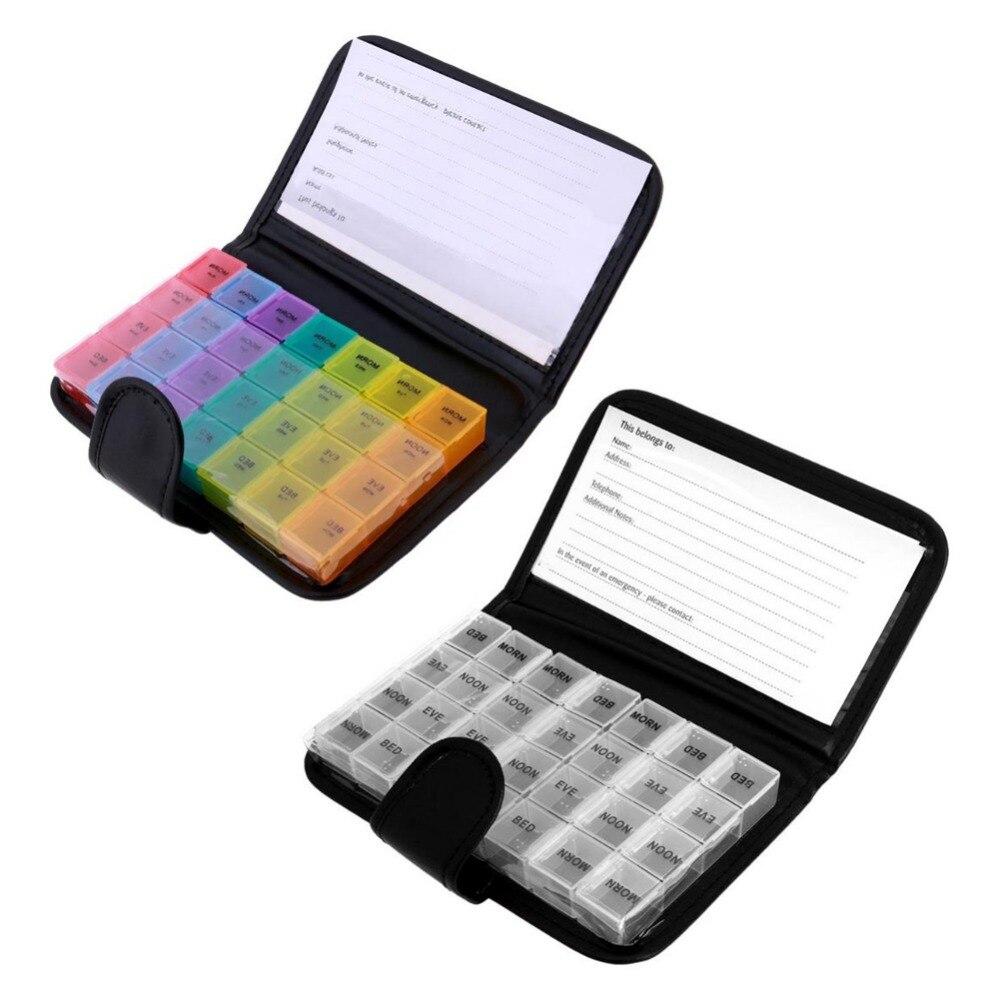 Tragbare 28 Grids Pille Box Tablet 7 Day Weekly Medizin Box Medikament Spender Tablet Halter Veranstalter Pille Brieftasche mit PU tasche