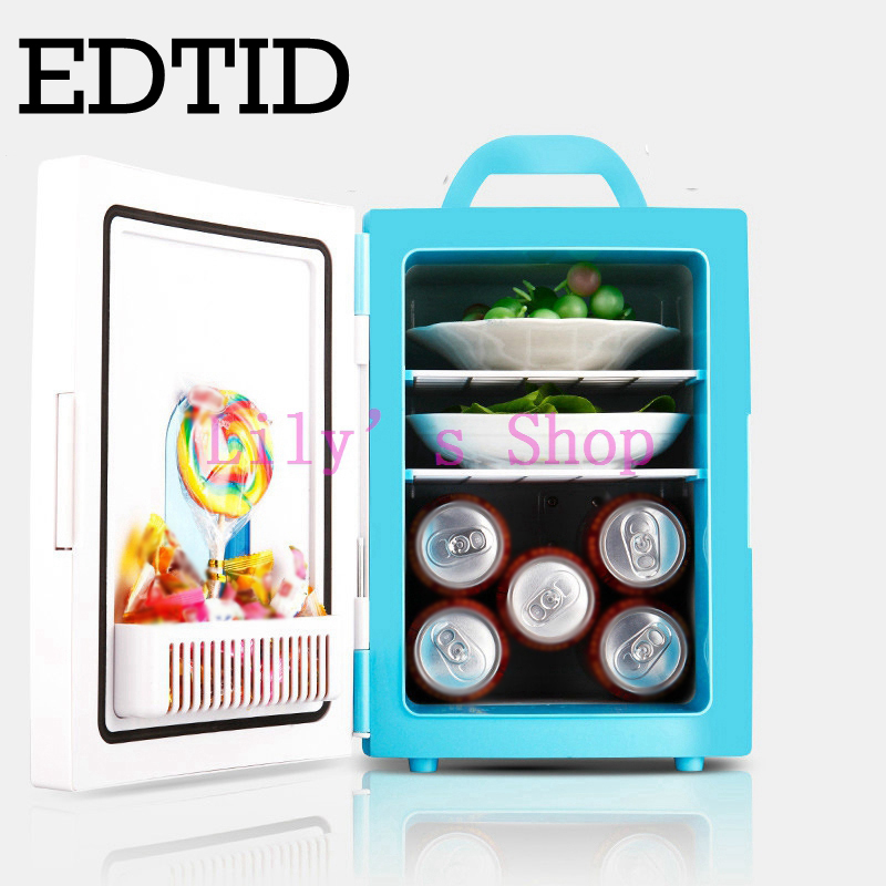 EDTID Mini Car Fridge Portable household Refrigerator Travel Auto Cooler Freezer Warmer cooling Box Dual Use Office 4L 12V 220V smad dc12v 4l abs mini car cooler warmer thermoelectric car truck refrigerator fridge beer soda 6 can fishong camper