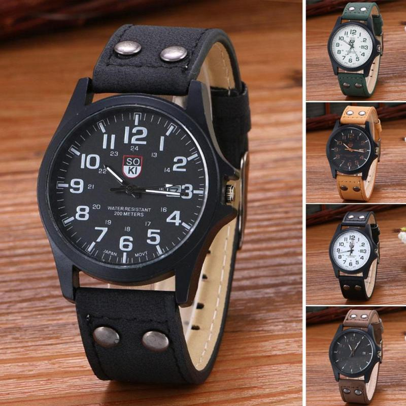 Men Quartz Wristwatch Military Casual Waterproof Outdoor Sport Watch Male Scrub Leather Watches With Calendar Gift Relogio D40