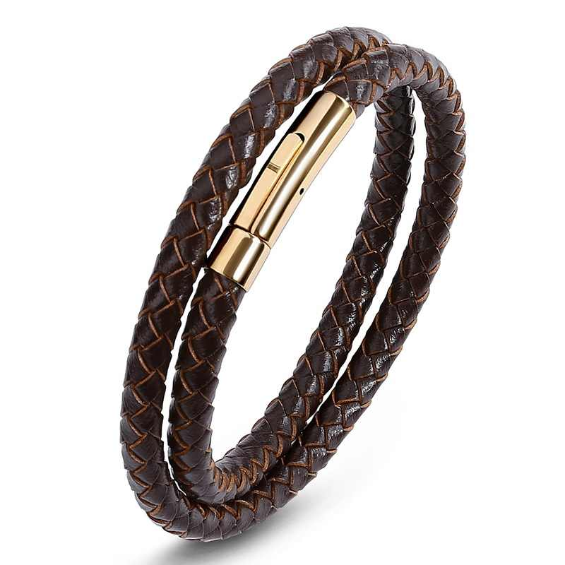 Punk Men Jewelry Black/Brown Braided Leather Bracelet Stainless Steel Magnetic Clasp Fashion Bangles Couple Bracelet Jewellery