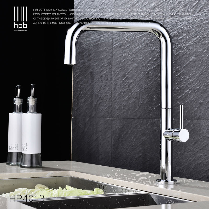 HPB Brass Chrome Rotary Kitchen Faucet Sink Mixer Tap Deck Mounted Single Handle Single Hole Hot