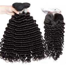 ALIBELE HAIR Deep Wave Bundles With Closure Raw Indian Hair Weave 3 4 Bundles Unprocessed Virgin Human Hair Bundles with Closure(China)