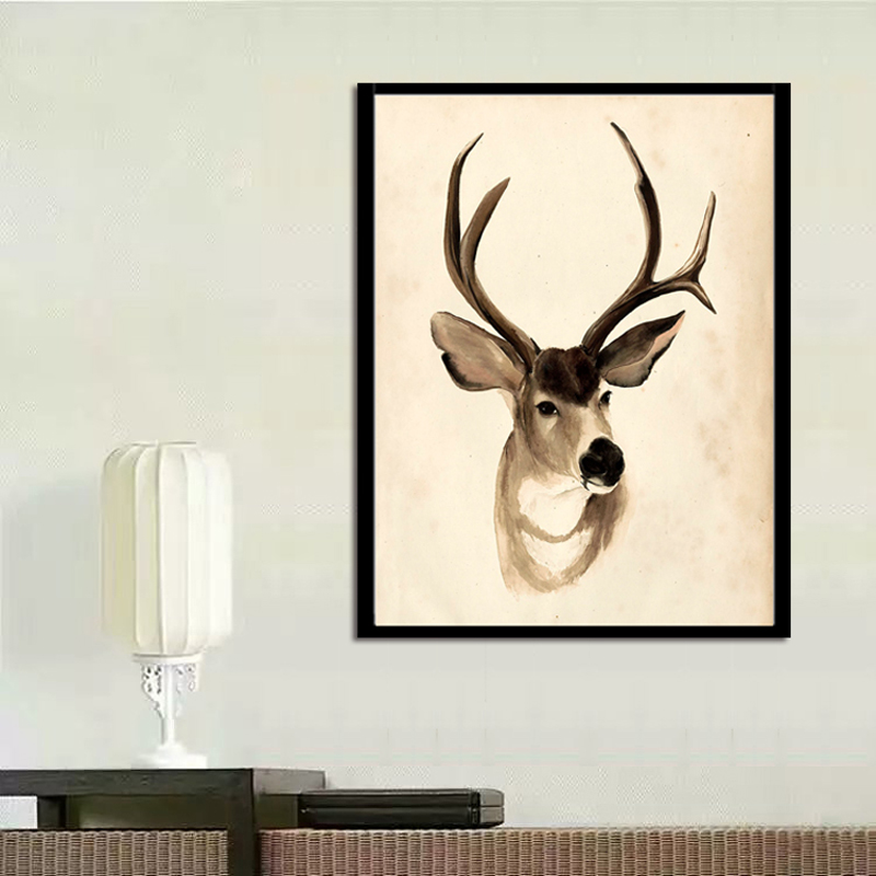 No Frame 1Pieces Simple elk Art Canvas Poster Painting Wall Picture Print Home Bedroom Decorati in Painting Calligraphy from Home Garden